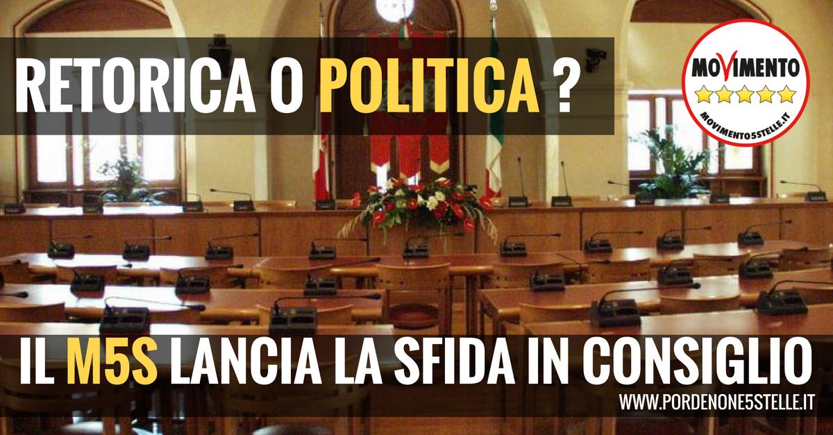 You are currently viewing RETORICA O POLITICA? IL M5S DI PORDENONE LANCIA LA SFIDA IN CONSIGLIO