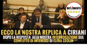 Read more about the article INTERROGAZIONE CONFLITTO DI INTERESSI ELENA CEOLIN – IL NOSTRO INTERVENTO IN AULA