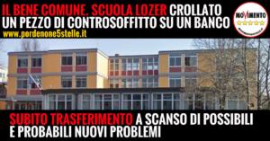 IL BENE COMUNE. SCUOLA LOZER: CROLLATO UN PEZZO DI CONTROSOFFITTO SU UN BANCO.