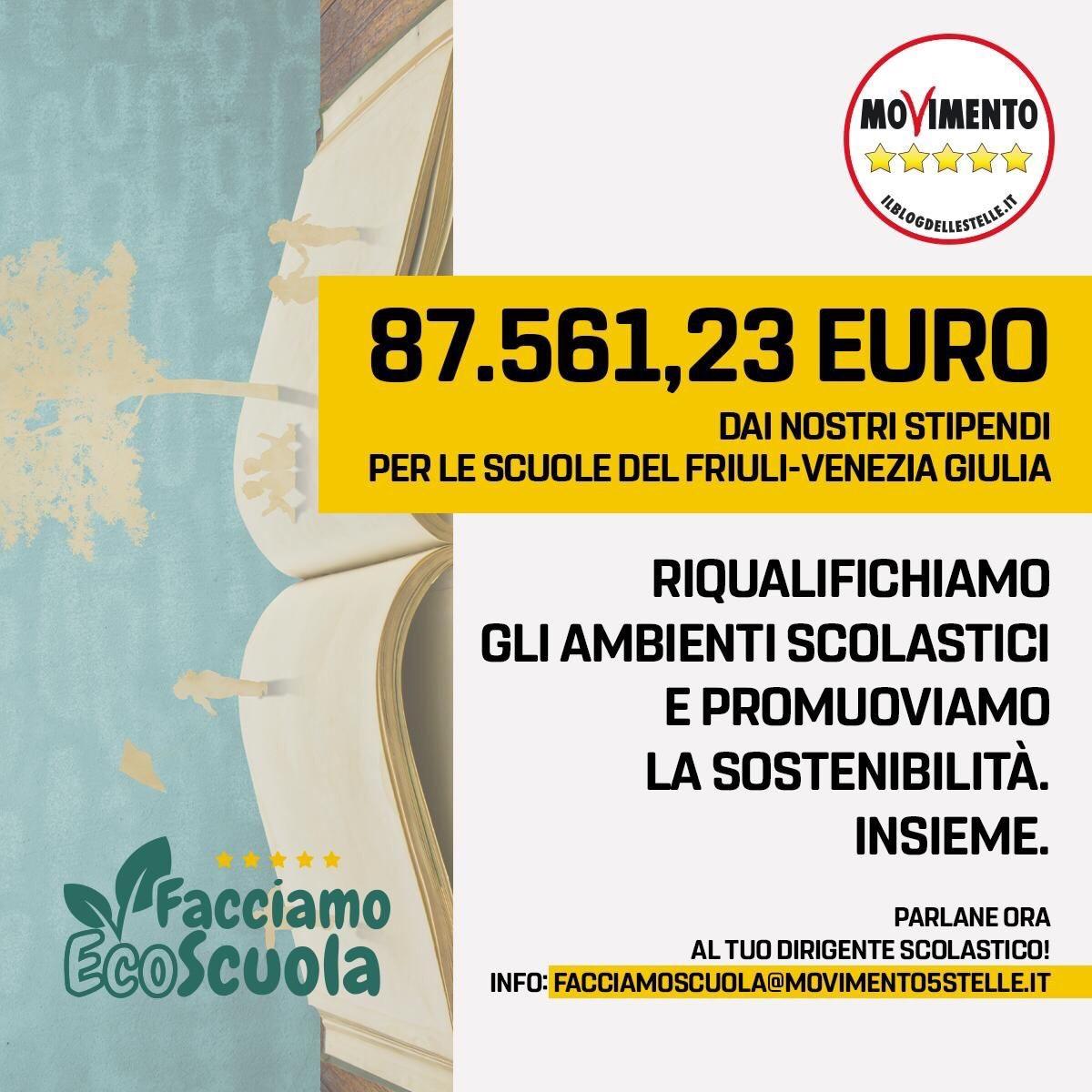 Dal taglio degli stipendi M5S, 87 mila euro per l'ecosostenibilità delle scuole FVG