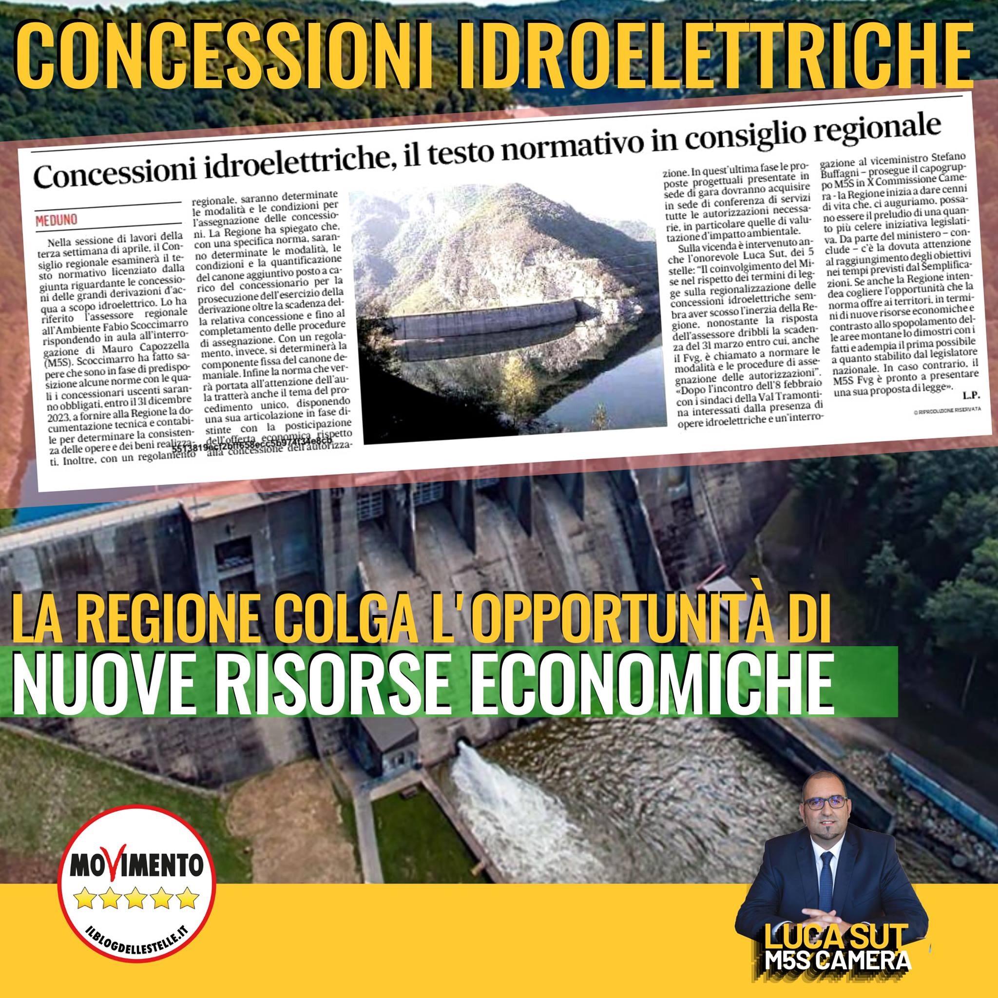 Read more about the article Sut M5S: Concessioni idroelettriche, la Regione colga l'opportunità di nuove risorse economiche