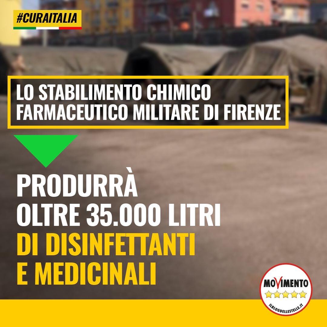 Lo Stabilimento chimico farmaceutico militare di Firenze produrrà e distribuirà disinfettanti e altri prodotti fondamentali