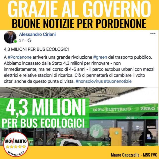 Grazie al Governo, buone notizie per il trasporto pubblico di Pordenone!