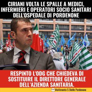 Read more about the article Ciriani volta le spalle a medici, infermieri e operatori socio sanitari dell'ospedale di PN.