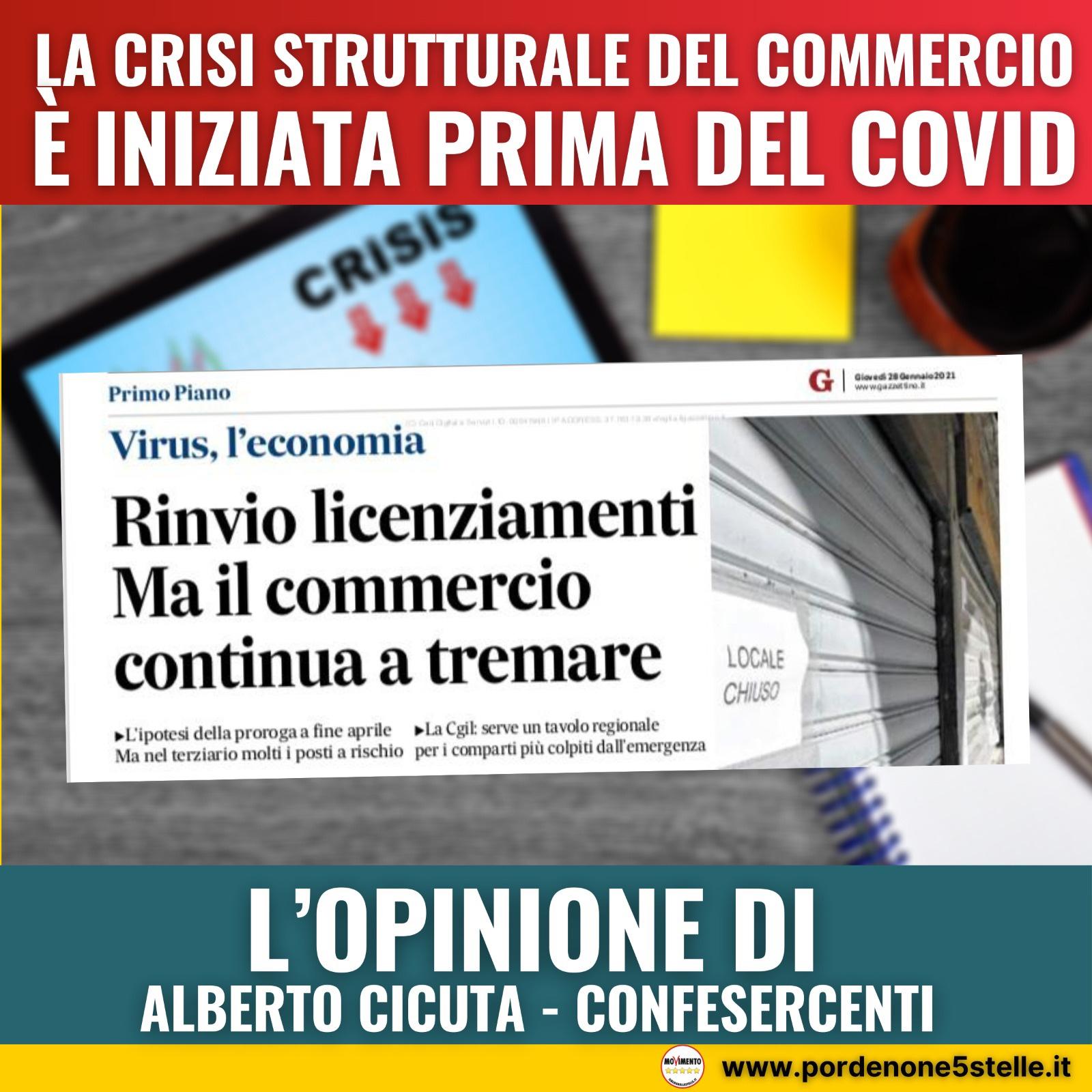 Read more about the article LA CRISI STRUTTURALE DEL COMMERCIO É INIZIATA PRIMA DEL COVID  – Il commento di Alberto Cicuta – Confesercenti