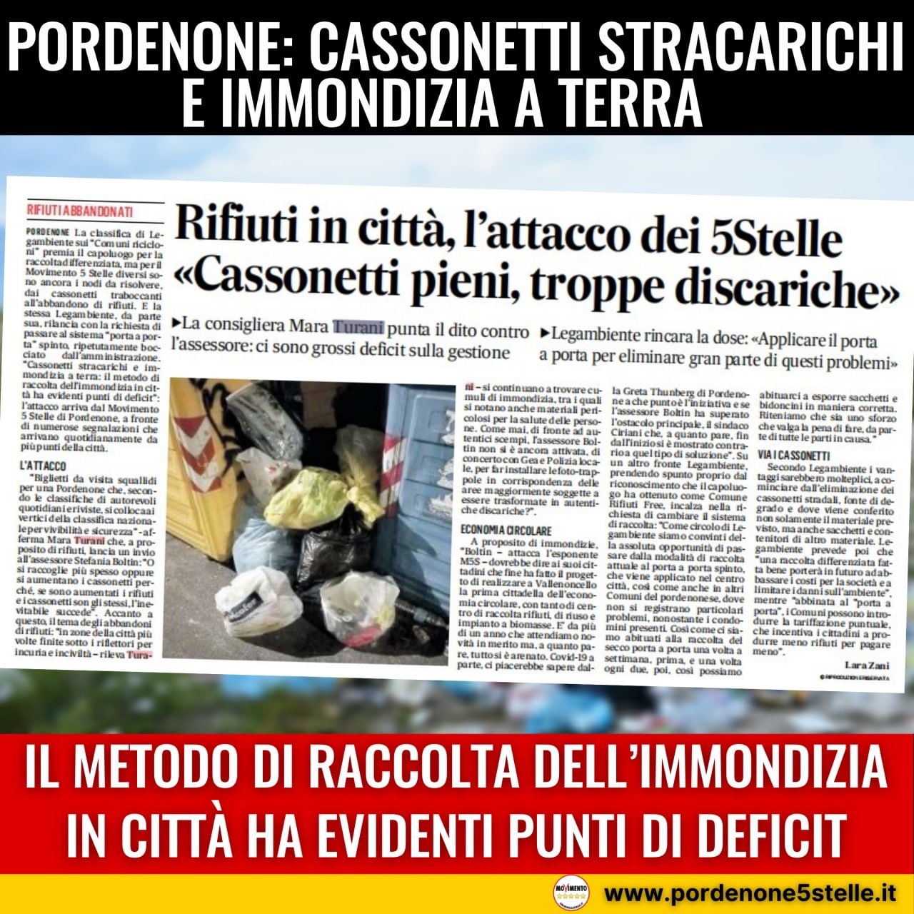 Read more about the article TURANI: Cassonetti stracarichi e immondizia a terra: il metodo di raccolta dell'immondizia in città ha evidenti punti di deficit